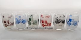 Vintage set of six juice glasses with classic cars/oldtimers pattern