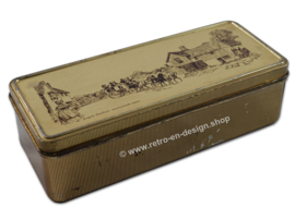 Gold colored tea tin or spoon box by Douwe Egberts