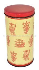 Vintage biscuit tin from 'De Gruyter' with sailing ship and people from distant countries