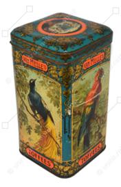 Boîte à bonbons vintage pour caramels (Toffees) de Van Melle avec diverses images d'oiseaux d'ornement tels que l'oiseau de paradis, l'ara et le paon