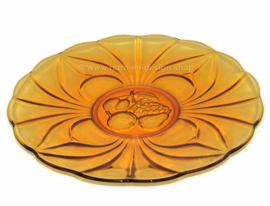 Beautiful vintage amber glass serving dish with fruit motif