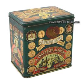 Vintage blik of trommel Underberg, groen