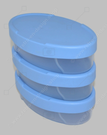 Vintage Tupperware Expressions set of oval blue storage containers, three pieces