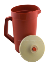 Large Vintage Tupperware Decorator Pitcher in red-brown