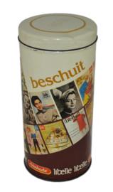 Boîte à biscuits de Verkade vintage cylindrique avec les premières pages du magazine Libelle, édition anniversaire