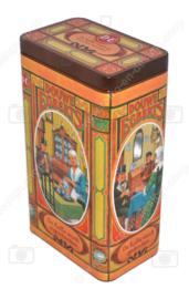 Boîte à café rétro faite par Douwe Egberts avec des images nostalgiques