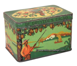 Vintage cacoa tin De Gruyter's Cacao, groenmerk