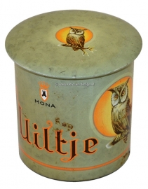 Uiltje, Owl. Round vintage cigars tin, green background. Mona