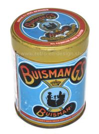 """Bote de hojalata vintage para jarabe de café Buisman con el texto """"Buisman GS"""""""