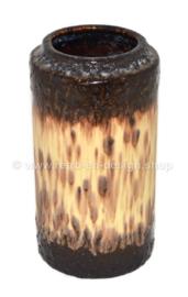 Vase vintage en faïence émaillée beige et marron