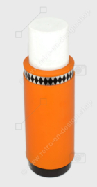 Vintage donkergele/oranje jaren 70 thermoskan met zwarte details in ruitvorm