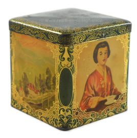 Square green tea tin in cube shape by co-op