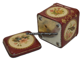 Old antique square tin with bird and flowers
