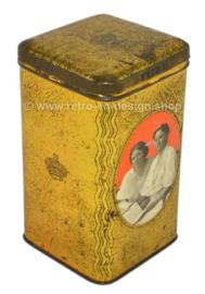 Lata de té rectangular vintage de color dorado con Juliana y Wilhelmina de los Países Bajos