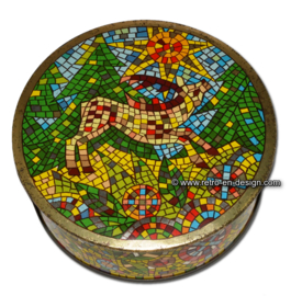 Vintage round DBF tin with deer in mosaic or stained glass style
