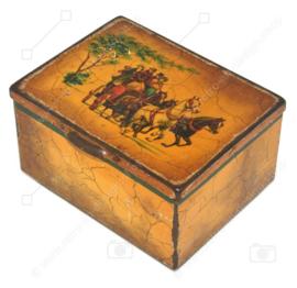 Vintage blikken trommel met voorstelling van koets met paarden voor Pickwick thee van Douwe Egberts