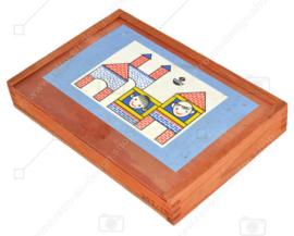 """Vintage Holzbaukasten mit farbigen Holzklötzen von """"VERO"""""""
