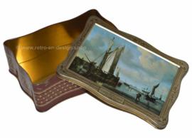 Vintage tin with detail of painting Willem van de Velde, Junior
