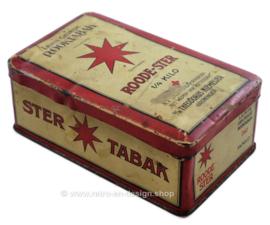 """Boite en étain vintage pour tabac par Niemeijer """"Roode-Ster Lichte Geurige Rooktabak"""""""