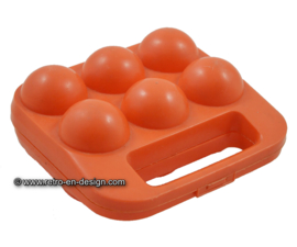 Vintage portable orange plastic egg box