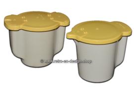 Retro vintage Tupperware Melk en suiker kannetje, beige/geel