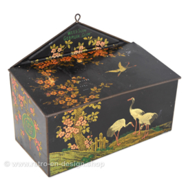 "Rectangular cleaning box with flap lid, decorations with cherry blossoms, ibises and lanterns ""Be Smart, Use Glim"""