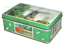 "Green vintage tin with color photos ""Beautiful Holland"""