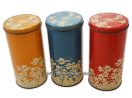 Vintage set of three Hooimeijer zwieback tins in red, orange en blue