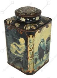 Hermosa lata de mostrador vintage para té con escenas holandesas