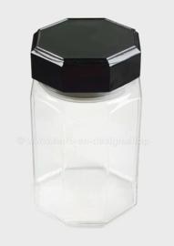 Medium glazen voorraadpot met zwarte afsluitdop van Arcoroc France, Luminarc Octime
