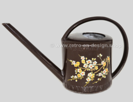 Vintage braune Emsa Gießkanne mit Blumenmuster
