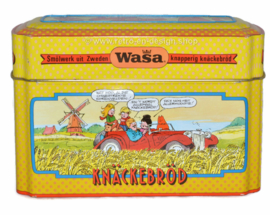 Vintage storage tin for WASA crispbread with Jck, Jacky and the Juniors by Jan Kruis
