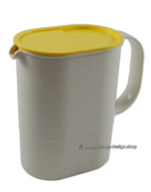 Vintage Tupperware Impressions water pitcher or Jug with yellow lid, 1L.