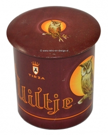 Uiltje, Owl. Round vintage cigars tin, brown background. Tirza