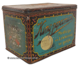 Vintage tin box with button for KING extra strong pepermunt, 1920 - 1930