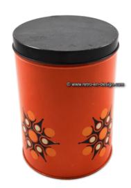 Vintage Brabantia oranje bewaarblik met sterrenpatroon