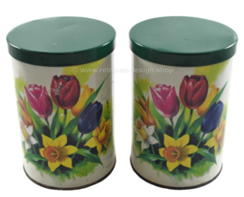 "Vintage set of Tomado tins for ""De Keukenhof"" with spring flowers such as tulip and daffodil"
