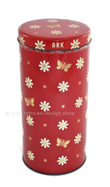 Vintage red biscuit tin or canister made by ARK with flowers and butterflies pattern