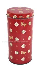 Boîte à biscuits vintage rouge ou bidon faite par ARK avec motif de fleurs et de papillons