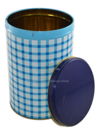Vintage checkered blue tin made by Tomado, 1960s