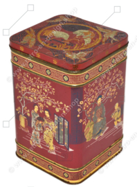 Vintage red-brown English tea tin with various oriental images