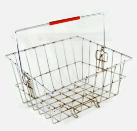 Vintage 1970s shopping basket made of steel wire with red handle