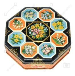 Boîte vintage octogonale de Lutti à décor floral