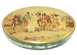 Lata vintage ovalada con la imagen de una procesión nupcial francesa