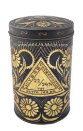 Vintage blikken cylindrische trommel voor Zuivere Cacaopoeder van EJO
