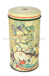 Boîte à biscuits vintage cylindrique réalisée par De SPAR avec des personnages de contes de fées