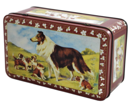 Vintage AJP tin with image of Scottish Collie and puppies