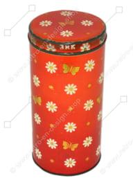 Lata de galletas vintage roja para ARK con flores, mariposas y estrellas