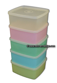 Various colored Tupperware storage containers