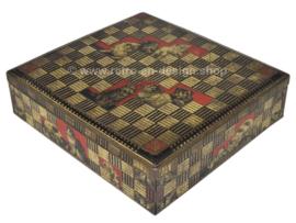 Vierkante zilverkleurige vintage blikken trommel met poezen decoratie voor Jamin